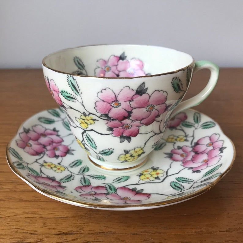 EB Foley Springdale Floral Tea Cup and Saucer, Vintage Bone China Teacup and Saucer