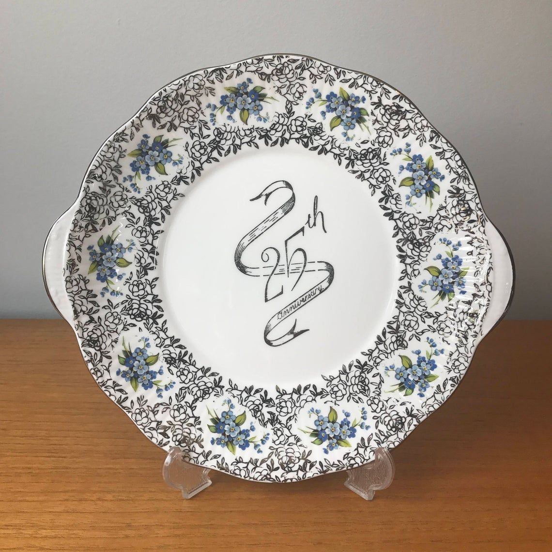 Elizabethan 25th Silver Anniversary Vintage Cake Plate, Blue Forget Me Nots, Silver Ribbon Chintz Border Dessert Tray, Bone China Dish