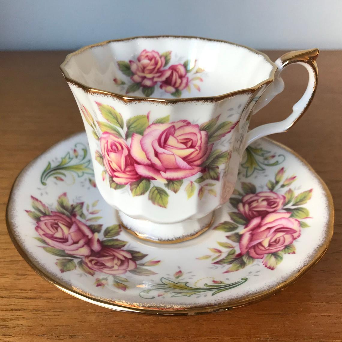 Elizabethan Cup and Saucer, Pink Rose Teacup and Saucer, Anniversary Rose Series Handel Tea Cup and Saucer, Bone China
