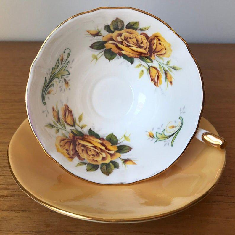 Elizabethan Princess Teacup and Saucer, Yellow Rose Vintage Tea Cup and Saucer, Bone China, Deep Yellow Gold, Tea Party