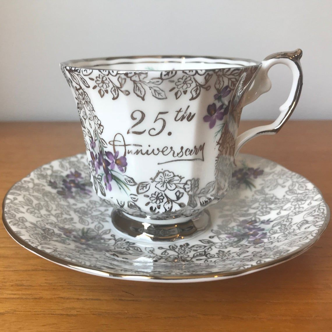 Elizabethan Tea Cup and Saucer, Silver Floral Chintz with Purple Violets Bone China Teacup and Saucer, 25th Wedding Anniversary Gift Idea