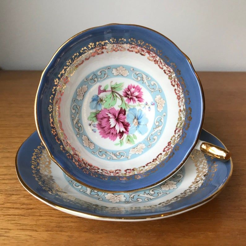 Elizabethan Versailles Tea Cup and Saucer, Periwinkle Blue Teacup and Saucer with Flowers