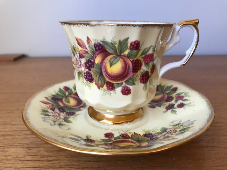Elizabethan Yellow Tea Cup and Saucer, Fruit Teacup and Saucer, Berries and Peaches