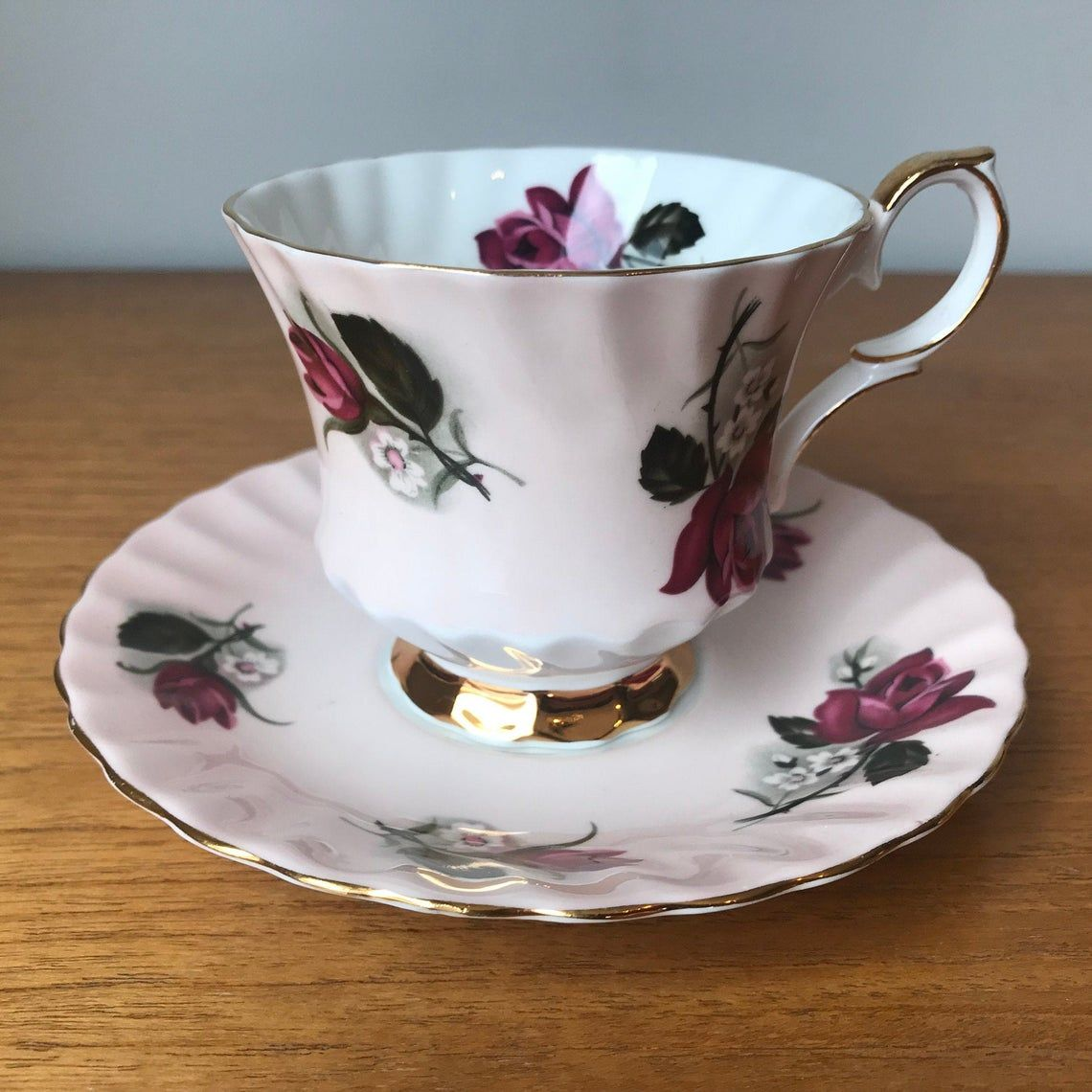English China Pink Tea Cup and Saucer, Queen Anne Rose Teacup and Saucer
