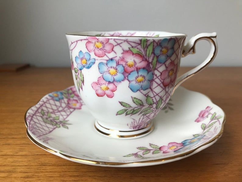 Floral Royal Albert Vintage Tea Cup and Saucer, Pink and Blue Flower Trellis Teacup and Saucer, Bone China, Garden Tea Party, 1940s