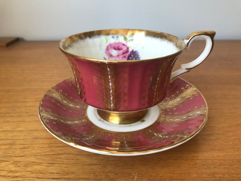 Floral Tea Cup and Saucer, Vintage Pink Paragon Teacup and Saucer, Bone China Heavy Gold