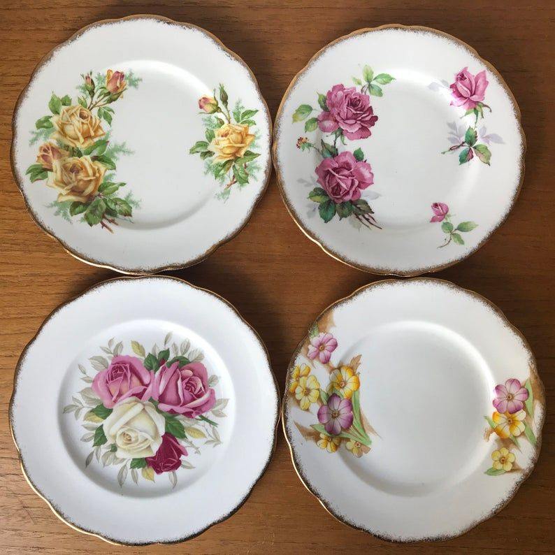 Flower China Plates, Dessert Plates, Tea Plates, Yellow and Pink Floral China, Royal Albert, Royal Stafford, Queen Anne