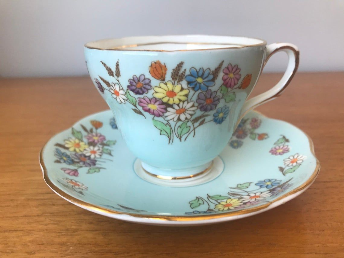 Foley China 1930s Tea Cup and Saucer, Hand Painted Daisies Blue Teacup and Saucer, Bone China