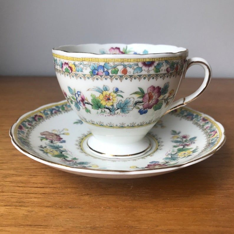 Foley China Tea Cup and Saucer, Floral Adoration Teacup and Saucer, E. Brain & Co. Ltd English Bone China
