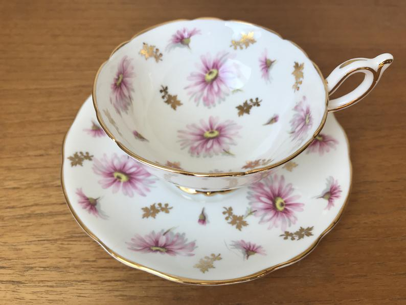 Foley Tea Cup and Saucer, Pink Daisy Teacup and Saucer, Vintage Fine Bone China