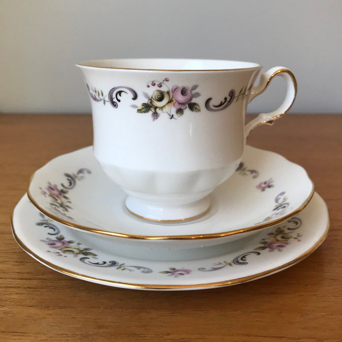 Gainsborough China Tea Cup Saucer and Plate set, Pink and Yellow Rose Teacup Trio with Black and Purple Scrolls