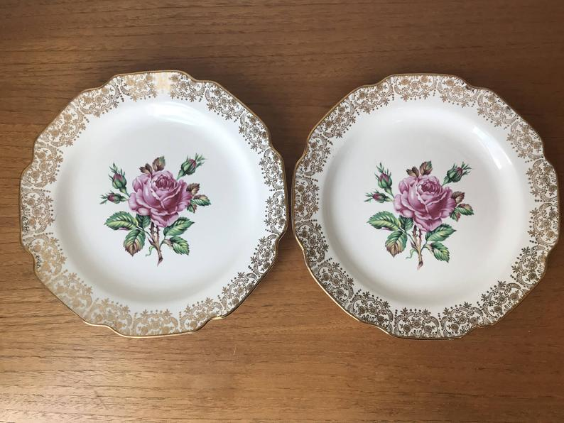 Georgian China Vintage Plates, Pair of Dinner Plates, Large Pink Cabbage Roses with Gold Border