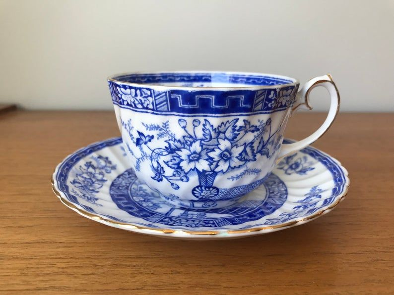 Gladstone Blue Rhapsody Tea Cup and Saucer, Blue and White China Teacup and Saucer