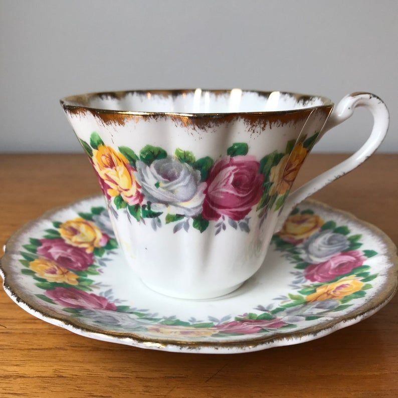 Gladstone Rosemary Vintage Teacup and Saucer, Yellow Pink & White Rose Garland Tea Cup and Saucer, English Floral Bone China