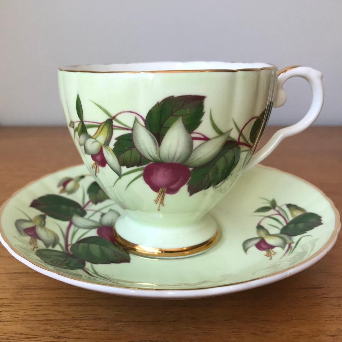 Green Tea Cup and Saucer Royal Grafton Fuchsia Flower Teacup and Saucer, Fine Bone China Collectibles