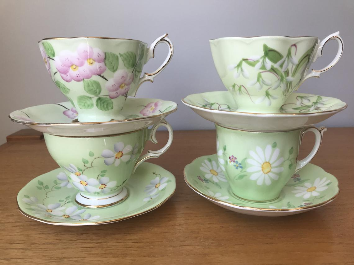 Green Tea Cups and Saucers, Light Mint Green Tea Set, Floral Pastel Green Teacups and Saucers, Royal Albert & Queen Anne Bone China