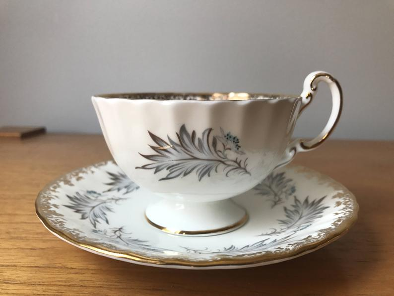 Grey Feather Aynsley Teacup and Saucer, White Tea Cup and Saucer with Gold Border, English Bone China
