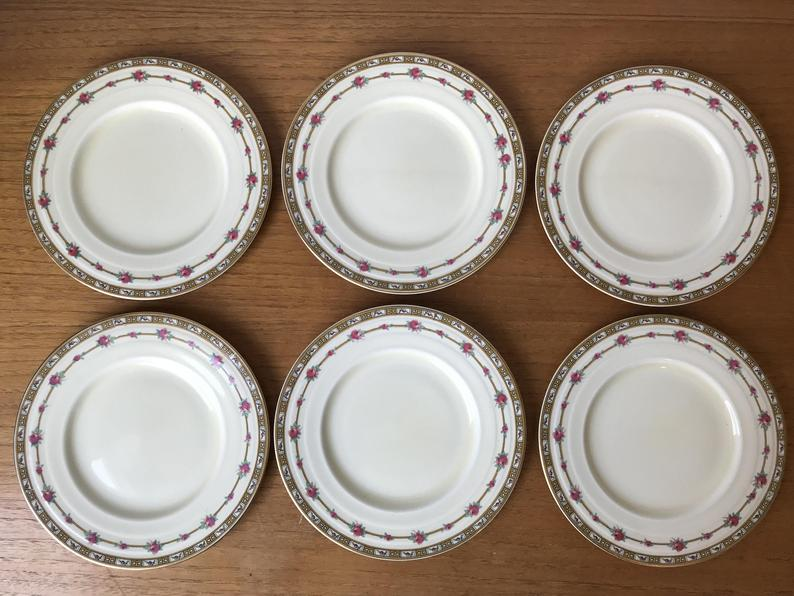 Grindley England Merlin Plates, Vintage Ceramic Side Plates, Cherries and Roses Bread and Butter Plates