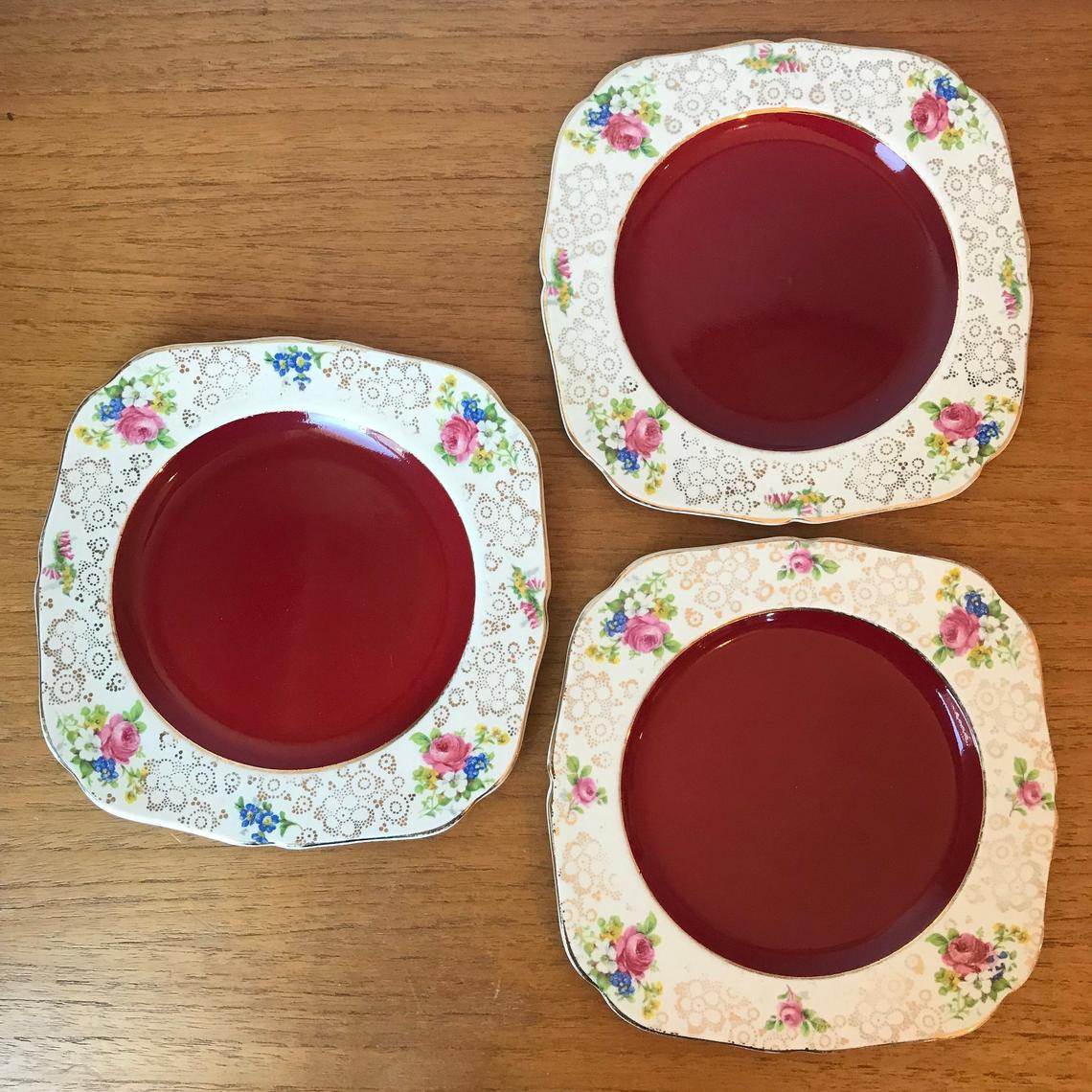 H & K Tunstall Plates, Floral Gold Chintz Plates, Red Plates, Vintage Earthenware