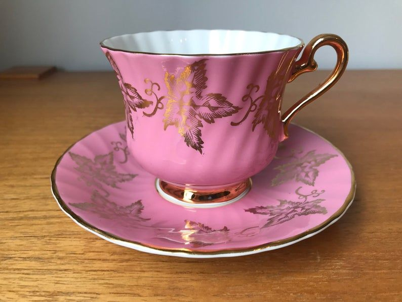 H M Sutherland Tea Cup and Saucer, Bright Pink Gold Leaves Teacup and Saucer, Fine Bone China