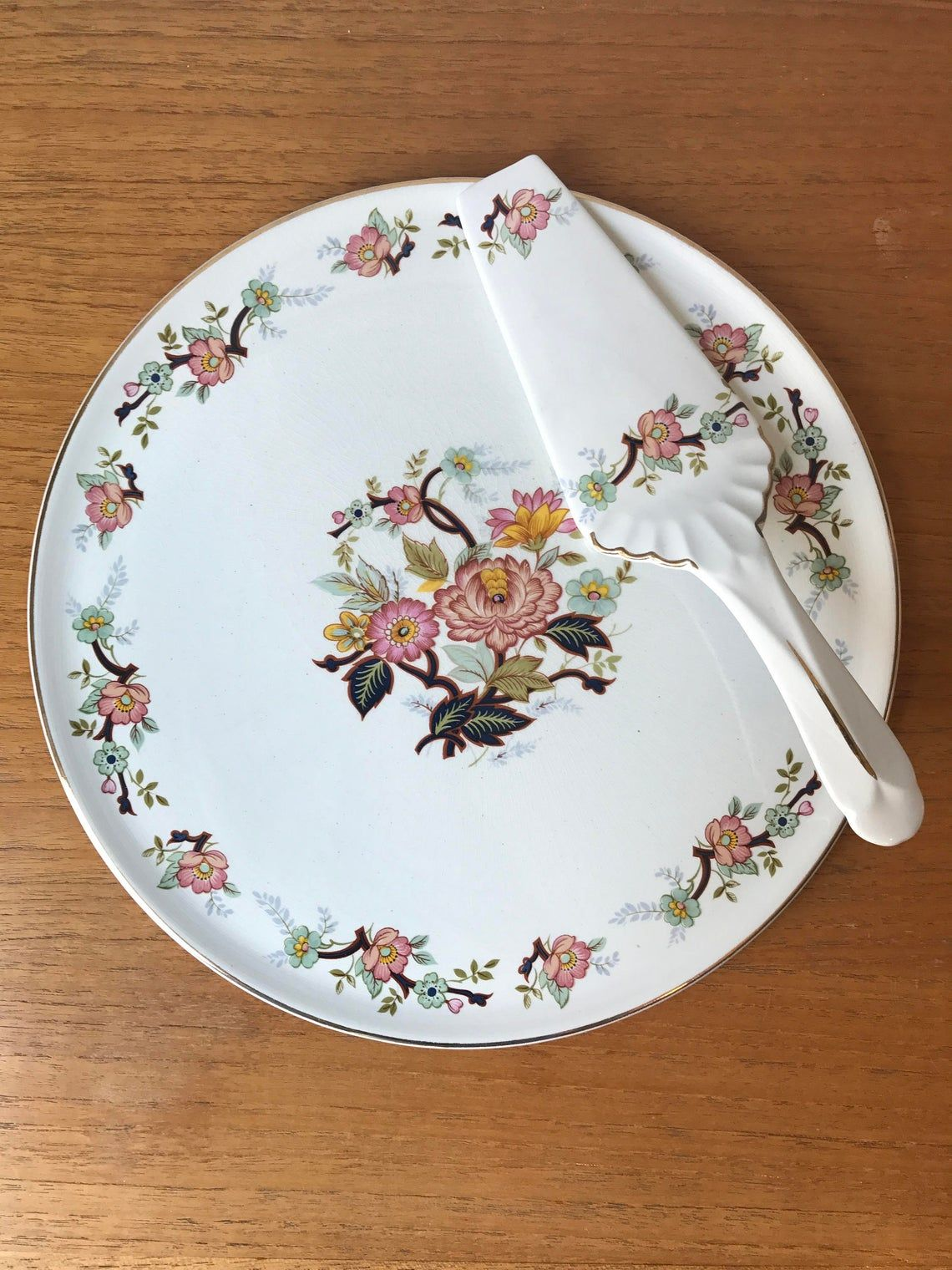H. Aynsley and Co. Staffordshire England Cake Plate, Large Circle Serving Platter Serving Utensil, Pink, Aqua, Blue Green Flowers & Leaves