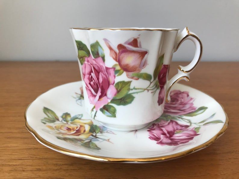 Hammersley Coffee Cup and Saucer, Rose Demitasse Teacup and Saucer, English Bone China, Pink, Peach and Yellow Roses