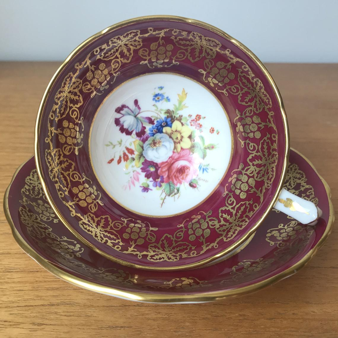 Hammersley Signed F Howard Flower Teacup and Saucer, Raspberry Pink Border with Gold Grape Vine Overlay Bone China Tea Cup and Saucer
