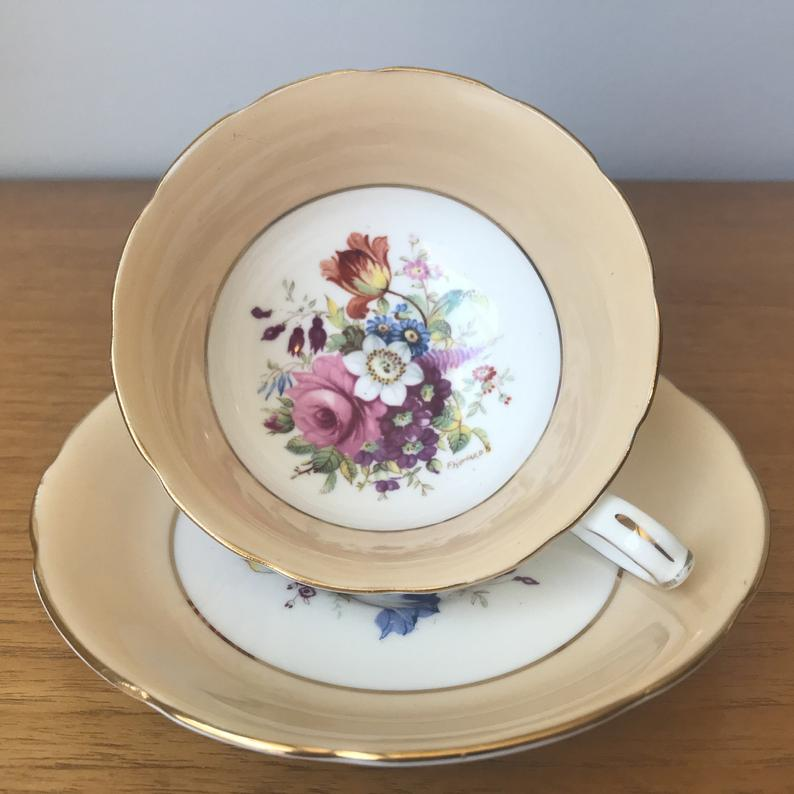 Hammersley Signed F. Howard Tea Cup and Saucer, Peach Border Floral Bouquet Teacup and Saucer, Vintage Bone China