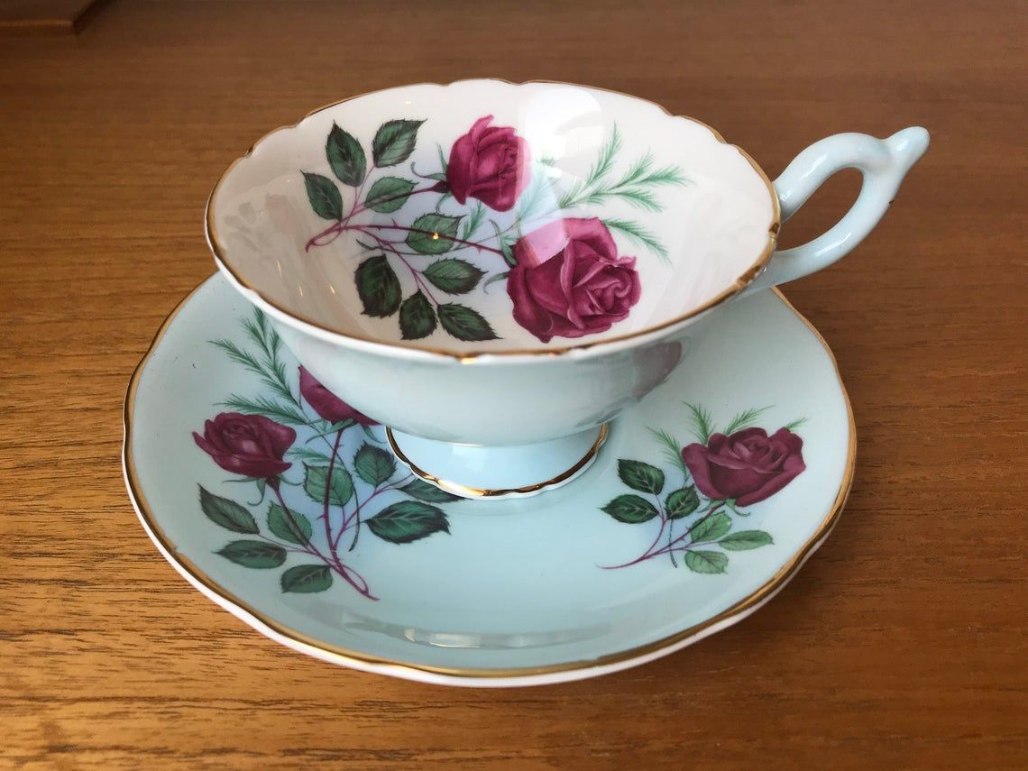 Rose Tea Cup and Saucer, Heathcote English China Teacup and Saucer, Pale Blue with Reddish Pink Roses