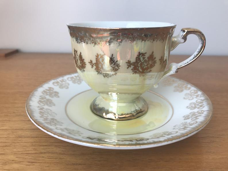 Japan Yellow Lustreware Vintage Teacup and Saucer, Japanese Porcelain China Lustre Tea Cup and Saucer