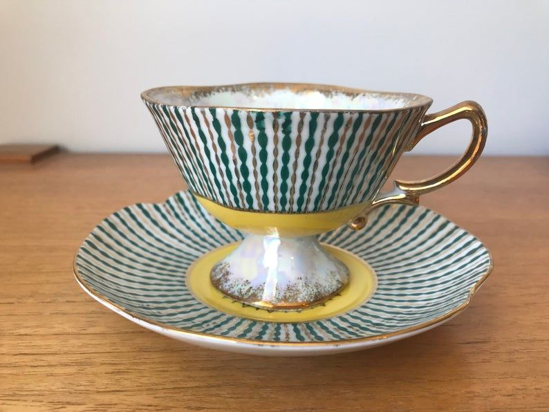Japanese Fine China Tea Cup and Saucer, Shafford Japan Stripes Teacup and Saucer, Green, Yellow and Gold Stripes