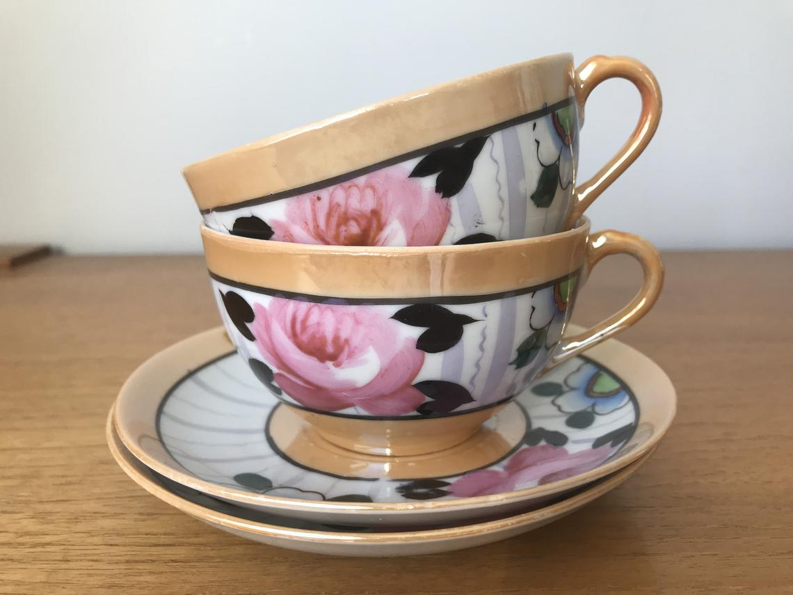 Japanese Lustreware Cups and Saucers, Orange Black Pink Purple and Blue Teacups and Saucers, Tea for Two Made in Japan, Vintage Fine China
