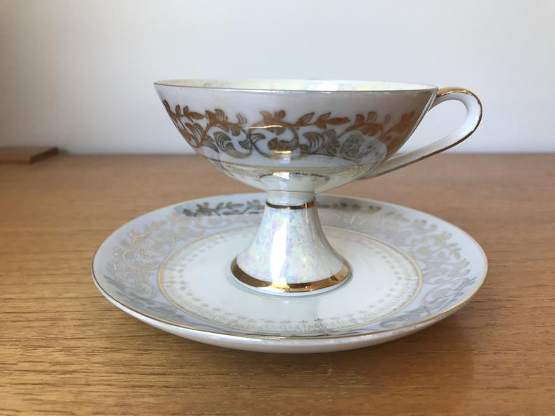Japanese Pedestal Tea Cup and Saucer, Grey Pearlescent Lustreware Teacup and Saucer, Fine China