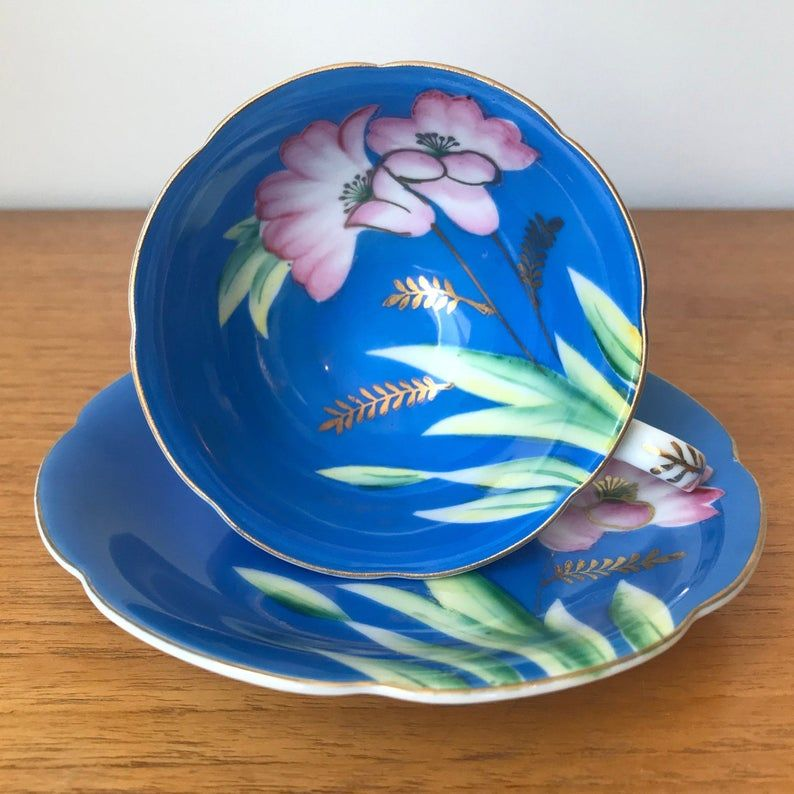 Japanese Tea Cup and Saucer, Bright Blue Teacup and Saucer with Hand Painted Pink Flowers, Fine China