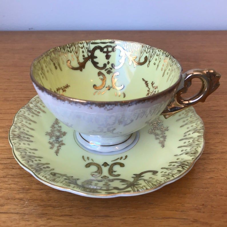 Japanese Yellow and Gold Tea Cup and Saucer, Vintage Porcelain China Teacup and Saucer