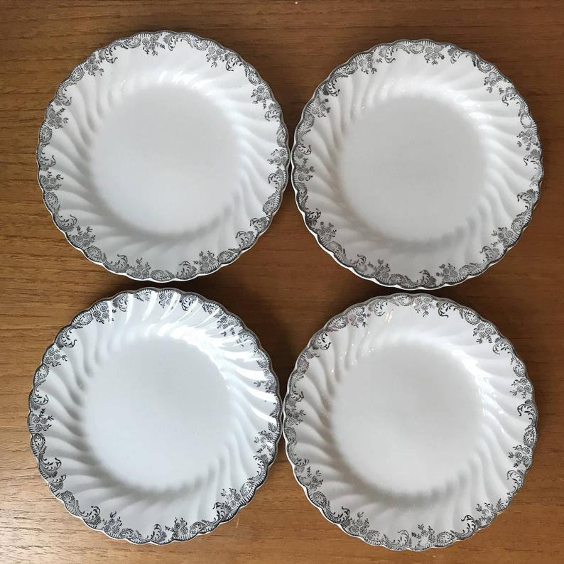 Johnson Brothers Plates, Bread and Butter Silver Plates, Ironstone Ceramic Earthenware
