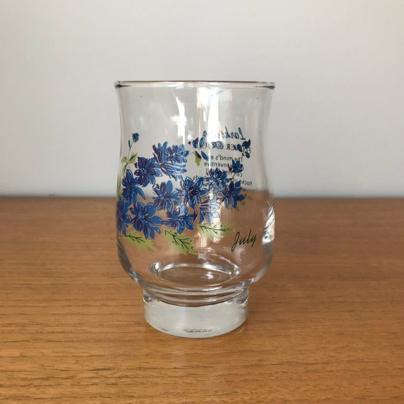 July Larkspur Glass, Flower of the Month Drinking Glass, Footed Glass, Glass Cup, Birthday Gift