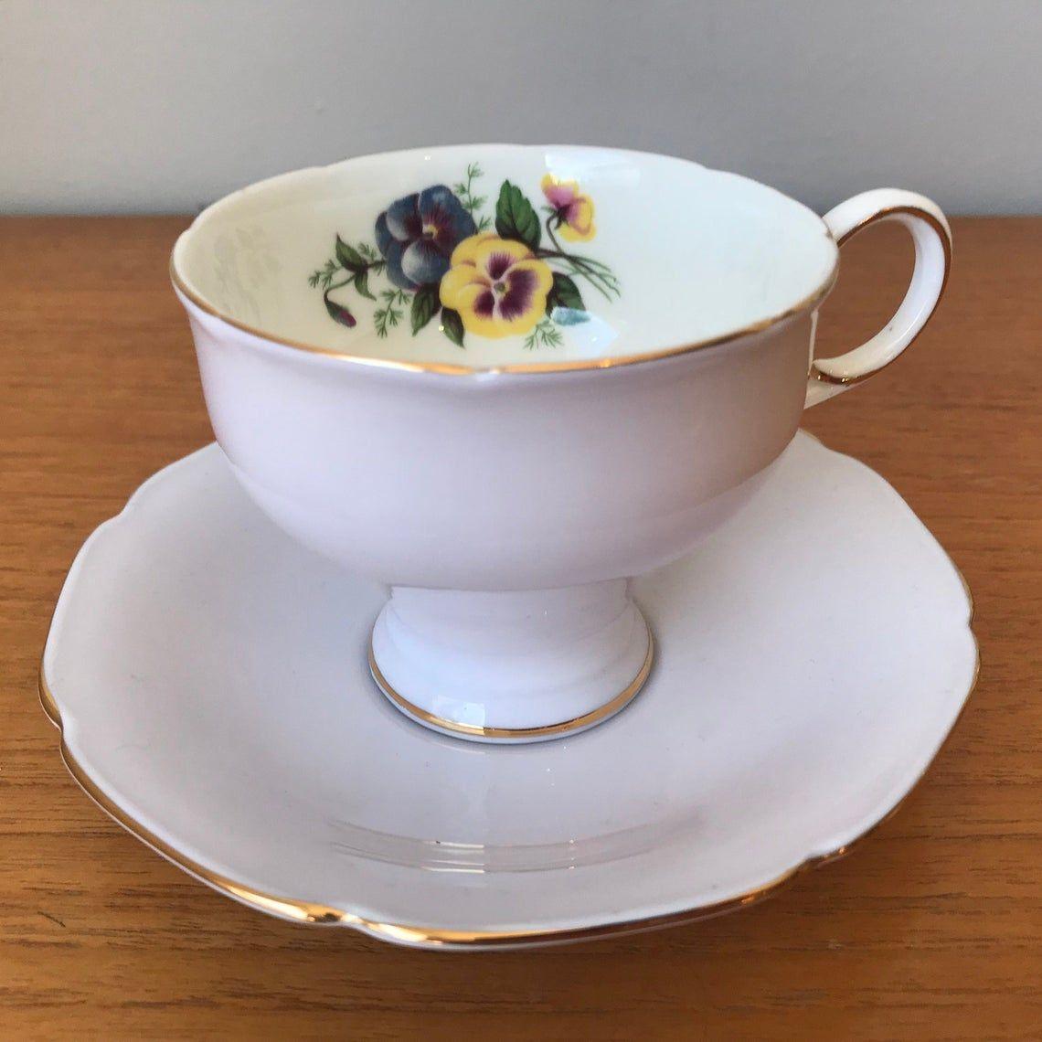 Light Purple Paragon Vintage Tea Cup and Saucer, Purple Yellow and Blue Pansy Teacup and Saucer, English Floral Bone China 1960s