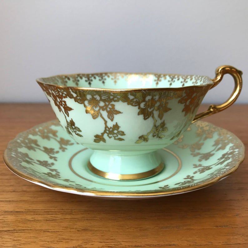 Mint Green Paragon Tea Cup and Saucer, Green and Gold Teacup and Saucer, Pistachio Pastel Green English Bone China, Double Warrant