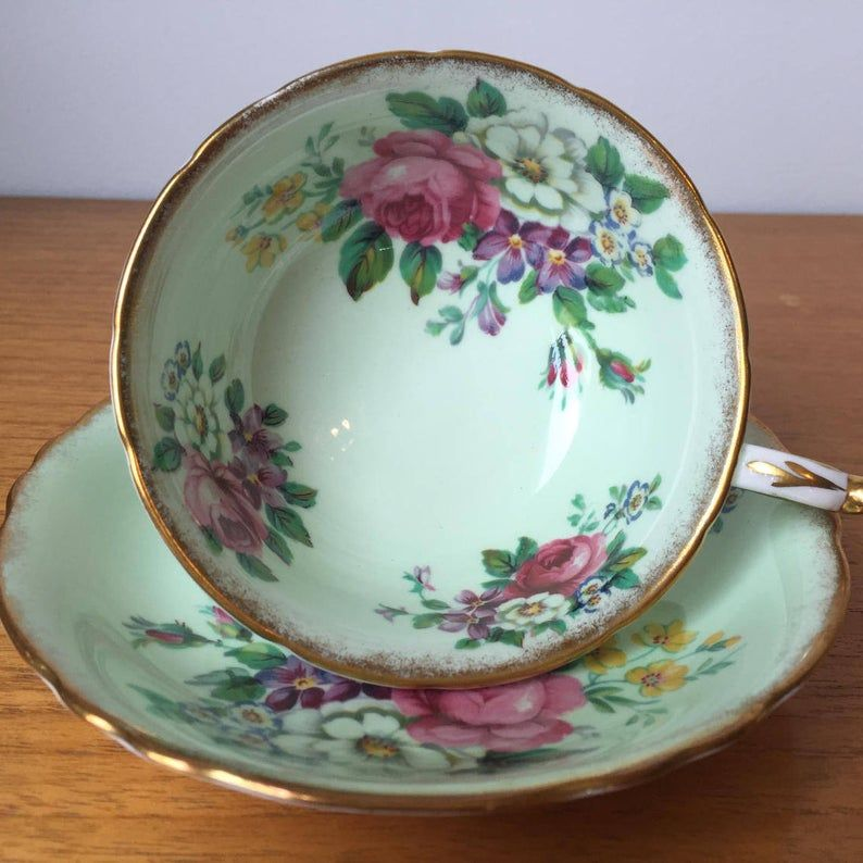 Mint Green Paragon Teacup and Saucer, Pink Roses Flower Bouquet, Vintage Tea Cup and Saucer, English Bone China, Garden Tea Party