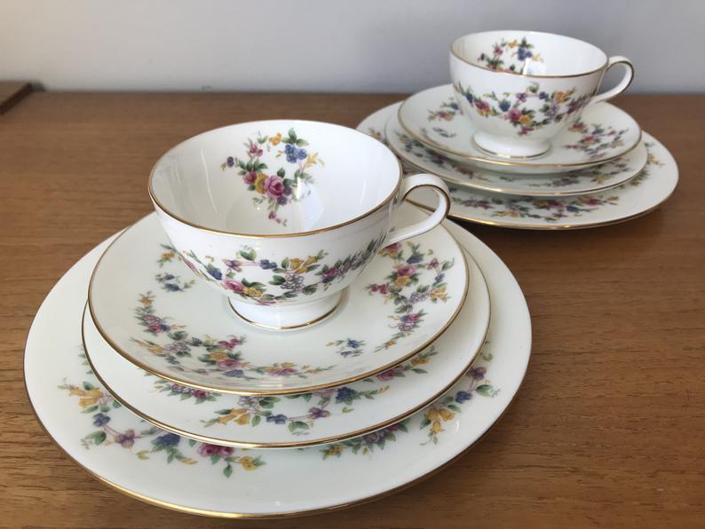 Minton China Tea Set, Spring Flowers Tea Cups Saucers Plates, Tea For Two