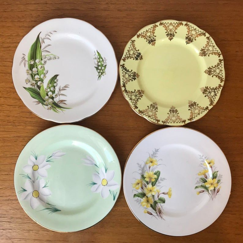 Mismatched China Plate Lot, Bread and Butter Plates, Yellow and Green Floral Side Plates, Royal Albert Royal Grafton Adderley Plates