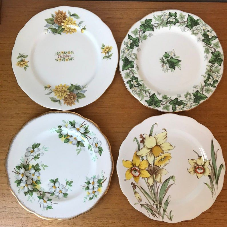 Mismatched China Salad Plates, Vintage Plates, Yellow Daffodils and Chrysanthemums, White Dogwood, Green Ivy