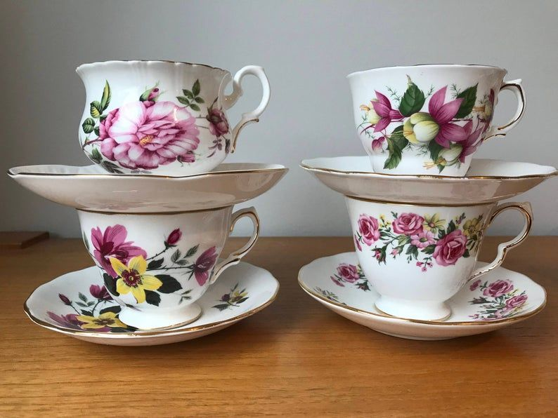 Mismatched China Tea Set, Pink and Yellow Floral Teacups and Saucers, English Flower Tea Cups and Saucers, Tea Party