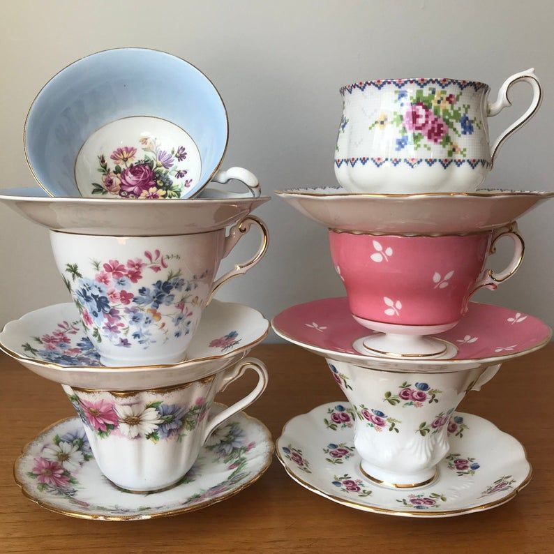 Mismatched China Tea Set, Vintage Floral Lot of Tea Cups and Saucers, Pink and Blue Teacups and Saucers, English Bone China, Tea Party