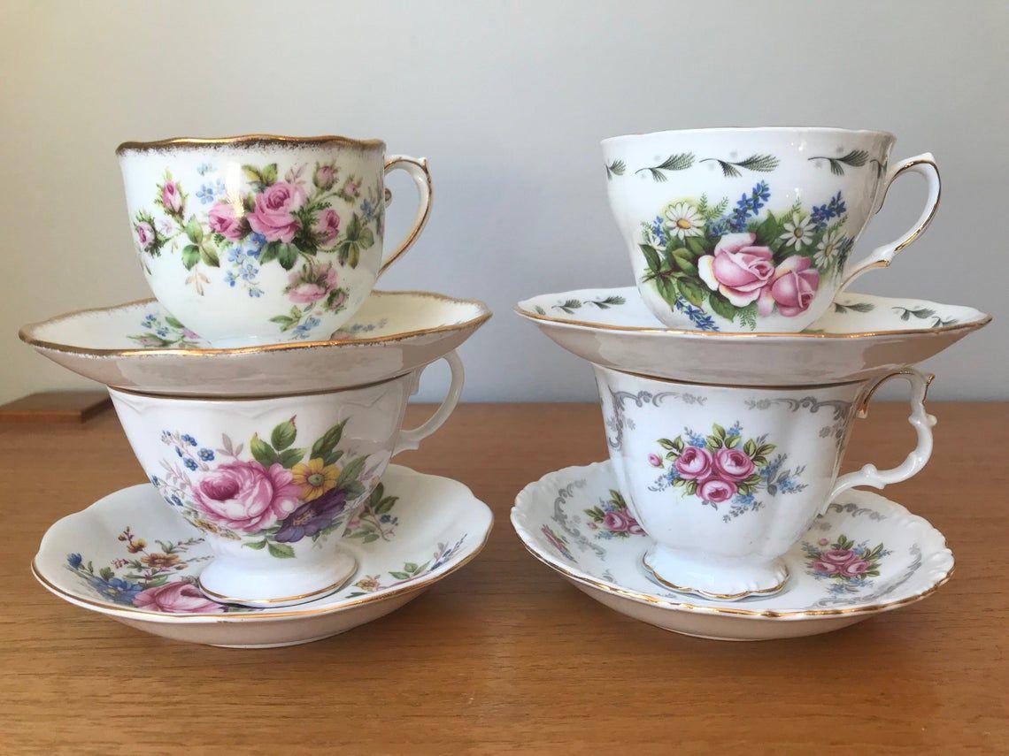 Mismatched China Tea Set, Vintage Tea Cups and Saucers, Pink Roses Teacups and Saucers, English Bone China, Tea Party