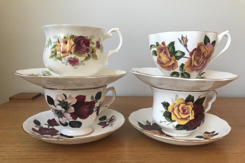 Mismatched China Tea Set, Rose Teacups and Saucers, Red Pink and Yellow Rose Tea Cups and Saucers