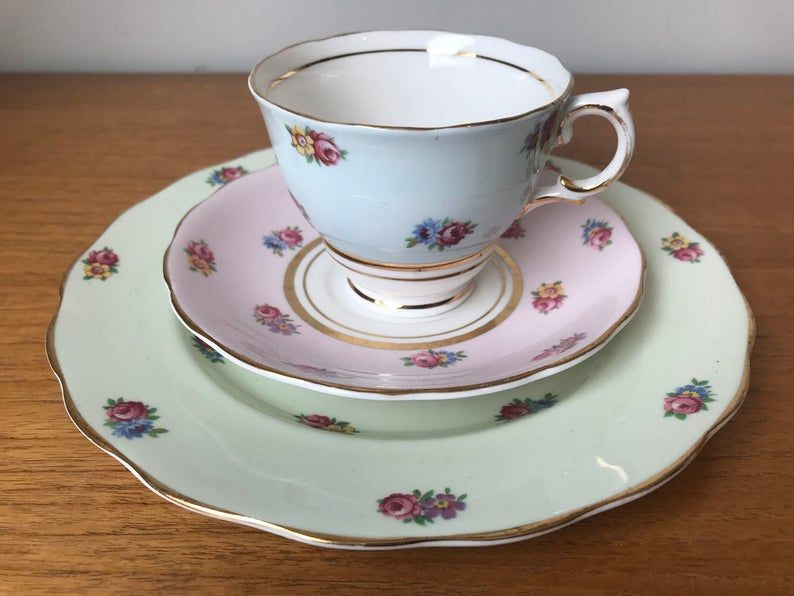 Mismatched China Trio, Colclough Tea Cup Saucer and Plate, Vintage Rainbow Floral Teacup Trio