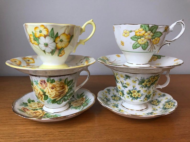 Mismatched Vintage Royal Albert Tea Set, Summertime Teacups and Saucers, Flower Tea Cups and Saucers, Yellow Floral English Bone China
