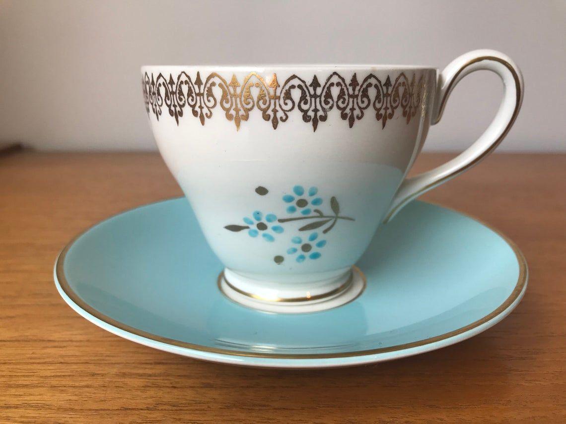"Myott England ""Lyric"" Blue Flower Tea Cup and Saucer, Vintage Teacup and Saucer, M759BU"